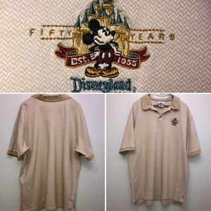 Tan soft polo with Mickey Mouse logo